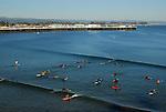 surfing at Cowell's in Santa Cruz
