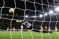 Olivier Giroud of Arsenal scores his team's fifth goal of the game from the penalty spot to make the score 5-0 during the UEFA Europa League match between Arsenal and FC BATE Borisov  at the Emirates Stadium, London, England on 7 December 2017. Photo by David Horn.