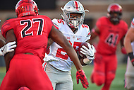 College Park, MD - NOV 12, 2016: Ohio State Buckeyes running back Mike Weber (25) runs by Maryland Terrapins defensive back Alvin Hill (27) during game between Maryland and Ohio State at Capital One Field at Maryland Stadium in College Park, MD. (Photo by Phil Peters/Media Images International)