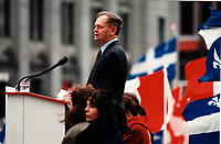 """October 27, 1995 File Photo -  Montreal, Quebec. CANADA -  <br /> Jean Chretien , Canadian Prime Minister and Canadian  Liberal leader speak in front of <br /> An estimated 100,000 Canadians from all provinces of Canada gathered at the Place du Canada for  the """"Unity Rally"""".<br /> <br /> A rally celebrating a united Canada organized three days before the referendum vote. <br /> <br /> The NO (pro Canada) won by a slight margin over the YES (Quebec separatists) on the October 30, 1995 Referendum"""