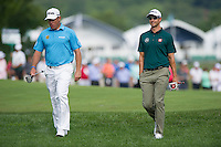 Lee Westwood and Adam Scott in action during the opening round of the US PGA Championship at Valhalla (Photo: Anthony Powter) Picture: Anthony Powter / www.golffile.ie