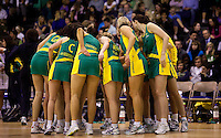 07 OCT 2009 - LOUGHBOROUGH, GBR - The Australian Diamonds have a team talk during their match against Loughborough Lightning (PHOTO (C) NIGEL FARROW)