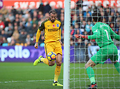 4th November 2017, Liberty Stadium, Swansea, Wales; EPL Premier League football, Swansea City versus Brighton and Hove Albion; Glenn Murray of Brighton slots the ball past Lukasz Fabianski of Swansea City scoring Brightons 1st goal in the 29th minute