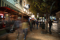 6th Street is bustling with F1 race fans during Fan Fest Celebration in downtown Austin, Texas.