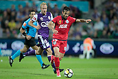 November 4th 2017, nib Stadium, Perth, Australia; A-League football, Perth Glory versus Adelaide United; Nikola Mileusnic from Adelaide United runs with ball ahead of Mitch Nichols of the Perth Glory