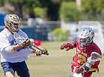 Corona Del Mar, CA 04/02/16 - Shayne Grant (Torrey Pines #12) and Nate Neumann (Corona Del Mar #22) in action during the non-conference game between the Nike/LM High School Boys' National Western Region #4 Torrey Pines (#4) and #5 Corona Del Mar.  Torrey Pines defeated Corona Del Mar 9-8 in overtime.