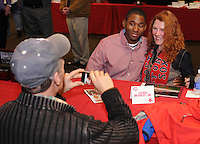 Red Sox Minor League outfielder and former University of South Carolina Gamecock Jackie Bradley Jr. poses for a photo while signing autographs at the Greenville Drive Hot Stove Event on January 23, 2012, in Greenville, South Carolina. Bradley was a top pick of the Boston Red Sox in the 2011 draft and played briefly in the Sox' Minor League system late in the 2011 season. (Tom Priddy/Four Seam Images)