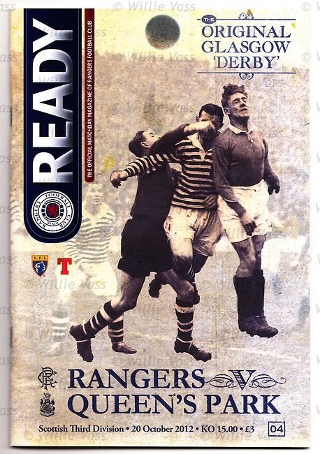 Official programme for Rangers v Queen's Park, the original Glasgow derby