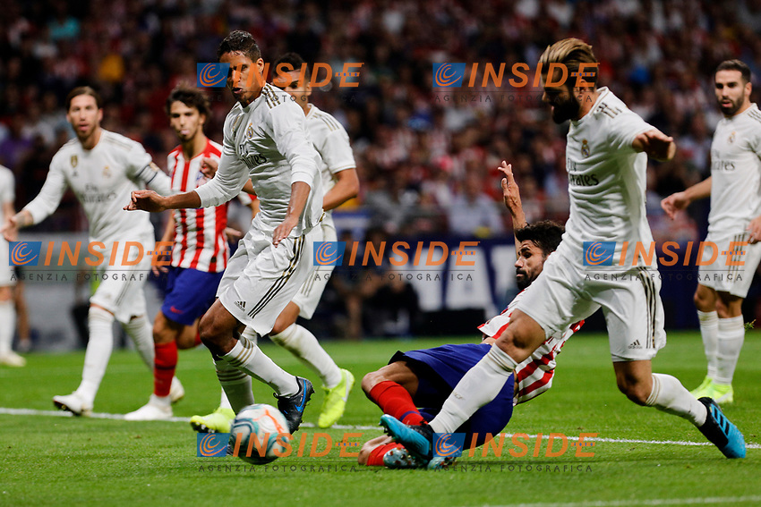 Diego Costa of Atletico de Madrid and Raphael Varane (L) and Nacho Fernandez (R) of Real Madrid during La Liga match between Atletico de Madrid and Real Madrid at Wanda Metropolitano Stadium{ in Madrid, Spain. {iptcmonthname} 28, 2019. (ALTERPHOTOS/A. Perez Meca)<br /> Liga Spagna 2019/2020 <br /> Atletico Madrid - Real Madrid <br /> Foto Perez Meca Alterphotos / Insidefoto <br /> ITALY ONLY