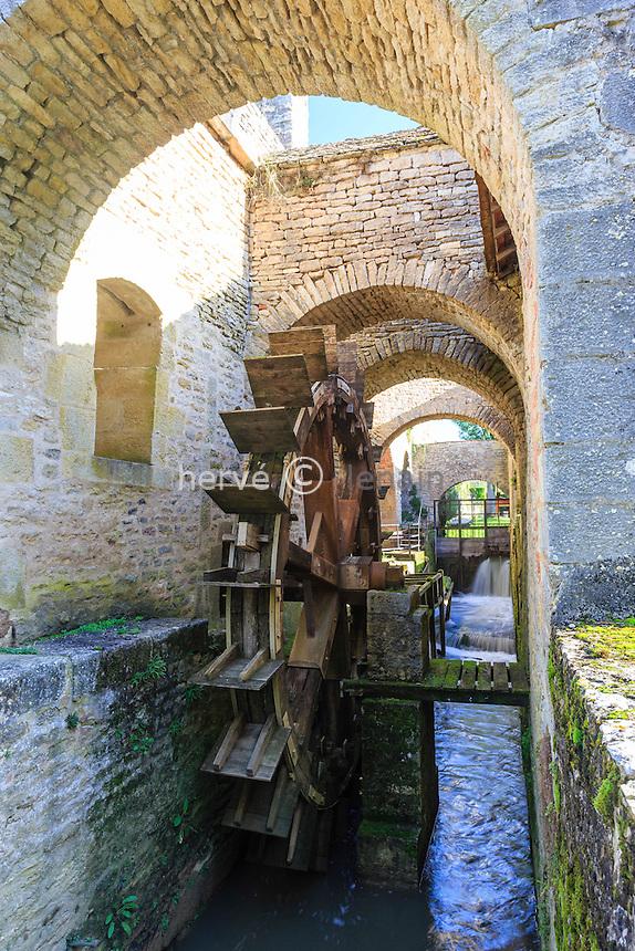 France, Yonne(89), Buffon, les forges de Buffon, canal d'amenée et roue à aubes // France, Yonne, Buffon, Buffon forges, feed channel and paddle wheel