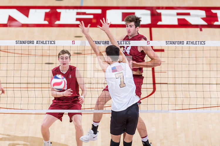 STANFORD, CA -- January 25, 2019. The Stanford Cardinal men's volleyball team defeats the Purdue University Fort Wayne Mastadons 3-1 at Maples Pavilion.