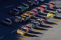 Nov. 1, 2009; Talladega, AL, USA; NASCAR Sprint Cup Series driver Jamie McMurray (26) leads the field during the Amp Energy 500 at the Talladega Superspeedway. Mandatory Credit: Mark J. Rebilas-