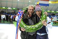 SCHAATSEN: HEERENVEEN: 24-01-2016, IJsstadion Thialf, NK Allround, Jan Blokhuijsen en zijn vader Martin Blokhuijsen, ©foto Martin de Jong
