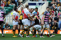 James Haskell of London Wasps is congratulated by team mates after scoring his first try during the Aviva Premiership match between London Wasps and Gloucester Rugby at Twickenham Stadium on Saturday 19th April 2014 (Photo by Rob Munro)