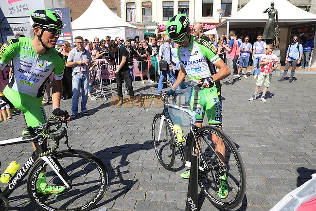 Mirco Maestri and Stefano Pirazzi (ITA) Bardiani CSF at sign on before the start of Stage 3 of the 2016 Giro d'Italia running 190km from Nijmegen to Arnhem, The Nethrerlands. 8th May 2016.<br /> Picture: Eoin Clarke | Newsfile<br /> <br /> <br /> All photos usage must carry mandatory copyright credit (&copy; Newsfile | Eoin Clarke)