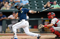 Designated hitter Ali Sanchez (7) of the Columbia Fireflies bats in a game against the Greenville Drive on Saturday, May 26, 2018, at Spirit Communications Park in Columbia, South Carolina. Columbia won, 9-2. (Tom Priddy/Four Seam Images)