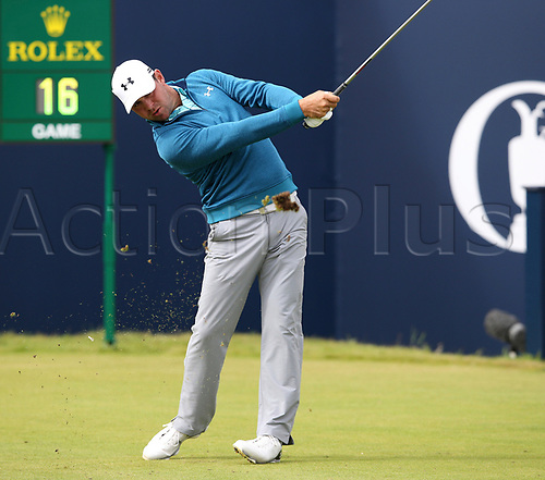 20th July 2017, Royal Birkdale Golf Club, Southport, England; The 146th Open Golf Championship ; First round ; Gary Woodland (USA) strikes his shot from the tee of the    opening hole during the first  round of the Open Championship