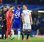 PGS's Zlatan Ibrahimovic shakes hands with Chelsea's Gary Cahill at the final whistle <br /> <br /> - UEFA Champions League - Chelsea vs Paris Saint Germain - Stamford Bridge - London - England - 9th March 2016 - Pic David Klein/Sportimage
