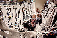 TALLAHASSEE, FL. 4/30/04-Linda Kleindienst, bureau chief with the South Florida Sun-Sentinel, center, surveys the Senate Press gallery after the staff of Senate President Jim King, R-Jacksonville, toilet papered the room as a prank on the closing day of the legislative session Friday at the Capitol in Tallahassee. COLIN HACKLEY PHOTO