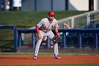 Palm Beach Cardinals first baseman Stefan Trosclair (28) during a game against the Charlotte Stone Crabs on April 20, 2018 at Charlotte Sports Park in Port Charlotte, Florida.  Charlotte defeated Palm Beach 4-3.  (Mike Janes/Four Seam Images)