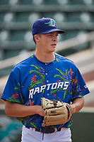 Ogden Raptors starting pitcher Caleb Sampen (51) before the game against the Idaho Falls Chukars at Lindquist Field on July 29, 2018 in Ogden, Utah. The Raptors defeated the Chukars 20-19. (Stephen Smith/Four Seam Images)
