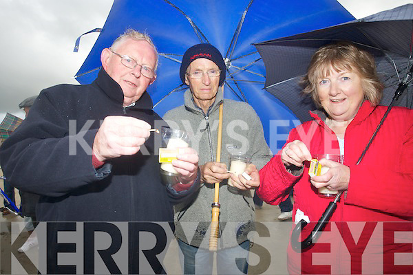 LIGHT: Trying their damet in lighting the Celebration Candle of Ligt on Banna Strand on Friday evening to raise funds for the Recovery Haven, Killerisk, Tralee L-R; PJ Riordan, Patsy O'Connor and Hannah Leahy.
