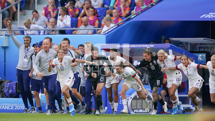 LYON, FRANCE - JULY 07: Tobin Heath #17, Adrianna Franch #21, Kelley O'Hara #5, Ashlyn Harris #18, Allie Long #20, Mallory Pugh #2 after the 2019 FIFA Women's World Cup France final match between the Netherlands and the United States at Stade de Lyon on July 07, 2019 in Lyon, France.