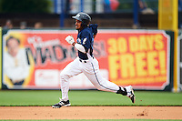 West Michigan Whitecaps outfielder Derek Hill (21) running the bases on a double during a game against the Cedar Rapids Kernels on June 7, 2015 at Fifth Third Ballpark in Comstock Park, Michigan.  West Michigan defeated Cedar Rapids 6-2.  (Mike Janes/Four Seam Images)