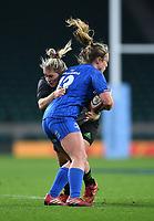 28th December 2019; Twickenham, London, England; Big Game 12 Womens Rugby, Harlequins versus Leinster; Rachael Burford of Harlequins tackles Elise O'Byrne-White of Leinster - Editorial Use