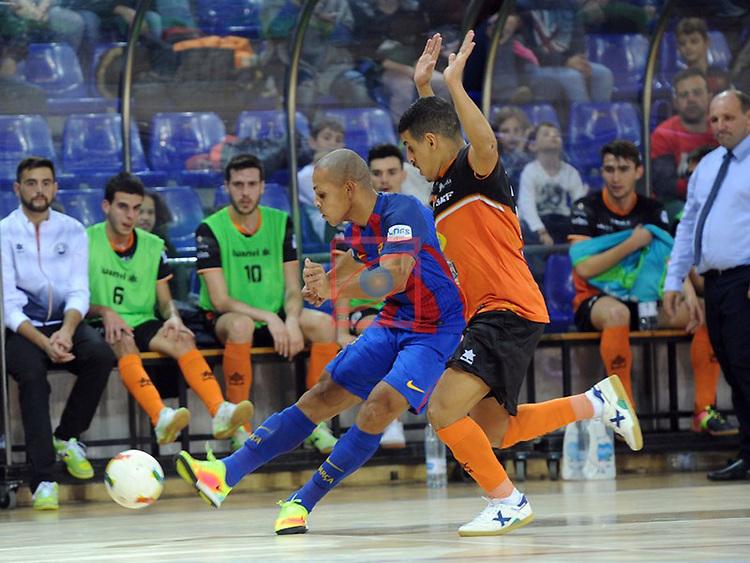 League LNFS 2016/2017 - Game 6.<br /> FC Barcelona Lassa vs Aspil Vidal Ribera Navarra: 7-1.<br /> Ferrao vs Hamza.