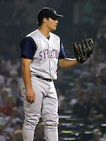 February 3, 2003:  Mike Smith of the Syracuse SkyChiefs, Class-AAA affiliate of the Toronto Blue Jays, during a International League game at Frontier Field in Rochester, NY.  Photo by:  Mike Janes/Four Seam Images