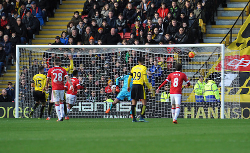 21.11.2015. Vicarage Road, Watford, England. Barclays Premier League. Watford versus Manchester United. Memphis Depay puts United one up.