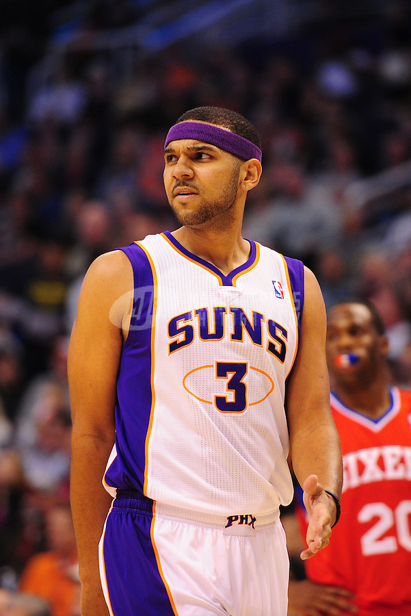 Dec. 28, 2011; Phoenix, AZ, USA; Phoenix Suns guard/forward Jared Dudley during game against the Philadelphia 76ers at the US Airways Center. The 76ers defeated the Suns 103-83. Mandatory Credit: Mark J. Rebilas-USA TODAY Sports