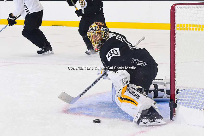 September 15, 2017: Boston Bruins goalie Tuukka Rask (40) makes a save during the Boston Bruins training camp held at Warrior Ice Arena in Brighton, Massachusetts. Eric Canha/CSM