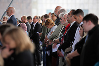 "Pictured: Some of the poeple attending the service Wednesday 31 May 2017<br /> Re: The funeral for former first minister Rhodri Morgan has taken place in the Senedd in Cardiff Bay.<br /> The ceremony, which was open to the public, was conducted by humanist celebrant Lorraine Barrett.<br /> She said the event was ""a celebration of his life through words, poetry and music"".<br /> Mr Morgan, who died earlier in May aged 77, served as the Welsh Assembly's first minister from 2000 to 2009.<br /> He was credited with bringing stability to the fledgling assembly during his years in charge.<br /> It is understood Mr Morgan had been out cycling near his home when he died."