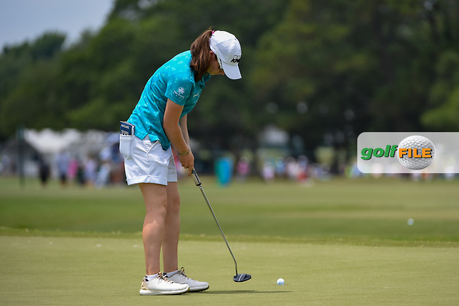 Leona Maguire (IRL) sinks her putt on 9 during round 2 of the 2019 US Women's Open, Charleston Country Club, Charleston, South Carolina,  USA. 5/31/2019.<br /> Picture: Golffile | Ken Murray<br /> <br /> All photo usage must carry mandatory copyright credit (© Golffile | Ken Murray)