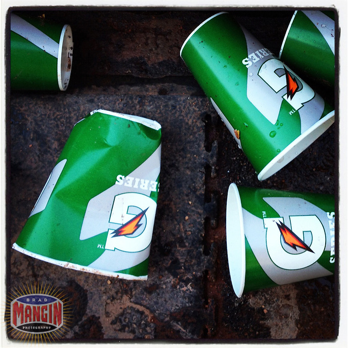 OAKLAND - APRIL 22:  Instagram of Cleveland Indians used Gatorade cups on the floor in their dugout after the game against the Oakland Athletics at O.co Coliseum on April 22, 2012 in Oakland, California. (Photo by Brad Mangin)