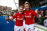 Keira Bevan and Elinor Snowsill of Wales celebrate at full time during the Women's Six Nations match between Wales and Ireland at Cardiff Arms Park, Cardiff, Wales, UK. Sunday 17 March 2019