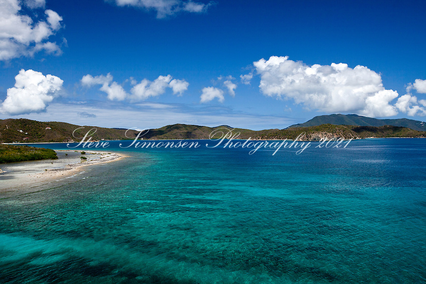 Aerial view of Johnson Bay looking into Coral Bay and Hurricane Hole.St. John.U.S. Virgin Islands