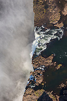 Close-up aerial view of the Victoria Falls.