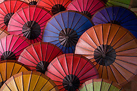 Colorful umbrella display at evening hill tribe market in Luang Prabang,Laos