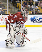 Raphael Girard (Harvard - 30) - The Boston University Terriers defeated the Harvard University Crimson 3-1 in the opening round of the 2012 Beanpot on Monday, February 6, 2012, at TD Garden in Boston, Massachusetts.