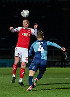 Fleetwood Town's Glenn Whelan heads under pressure from Wycombe Wanderers' Dominic Gape (right) <br /> <br /> Photographer Andrew Kearns/CameraSport<br /> <br /> The EFL Sky Bet League One - Wycombe Wanderers v Fleetwood Town - Tuesday 11th February 2020 - Adams Park - Wycombe<br /> <br /> World Copyright © 2020 CameraSport. All rights reserved. 43 Linden Ave. Countesthorpe. Leicester. England. LE8 5PG - Tel: +44 (0) 116 277 4147 - admin@camerasport.com - www.camerasport.com