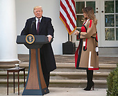 "United States President Donald J. Trump makes remarks as he and First Lady Melania Trump, right, host the National Thanksgiving Turkey Pardoning Ceremony in the Rose Garden of the White House in Washington, DC on Tuesday, November 20, 2018.  According to the White House Historical Association, the ceremony originated in 1863 when US President Abraham Lincoln's granted clemency to a turkey. The tradition jelled in 1989 when US President George HW Bush stated ""But let me assure you, and this fine tom turkey, that he will not end up on anyone's dinner table, not this guy -- he's granted a Presidential pardon as of right now -- and allow him to live out his days on a children's farm not far from here.""<br /> Credit: Ron Sachs / CNP<br /> (RESTRICTION: NO New York or New Jersey Newspapers or newspapers within a 75 mile radius of New York City)"