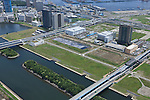 Ariake BMX course: Tokyo, Japan: Aerial view of proposed venue for the 2020 Summer Olympic Games. (Photo by AFLO)