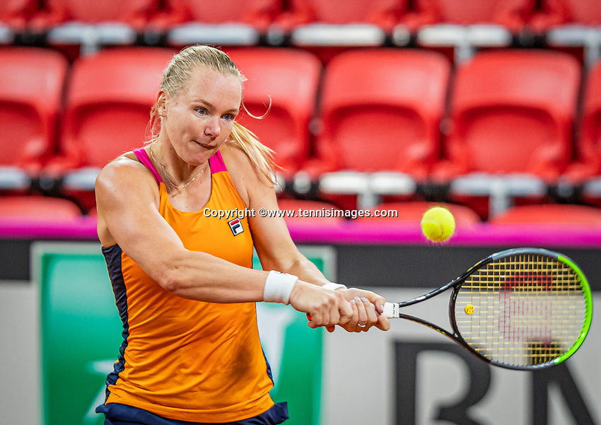 The Hague, The Netherlands, Februari 4, 2020,  Sportcampus , FedCup  Netherlands - Balarus, Dutch team practise, Kiki Bertens <br /> Photo: Tennisimages/Henk Koster