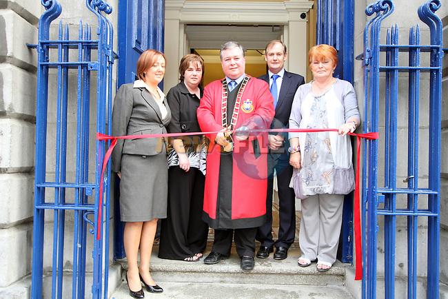 Mary T Daly from Drogheda Borough Council with Town Clerk Joan Martin, Mayor Paul Bell, County Manager Con Murray and Phil Cunningham at the Official Opening of the Tholsel and the new Tourist Office...Picture Jenny Matthews/Newsfile.ie