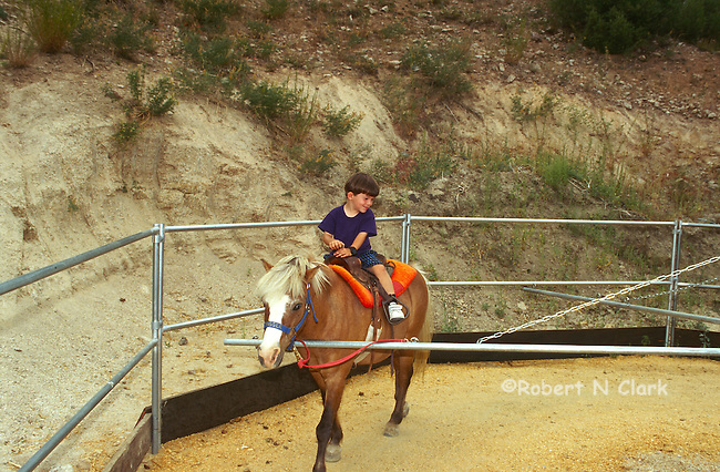 Boy riding pony