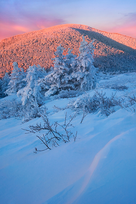 """SUNRISE TRANQUILITY"" - As the snow storm cleared, great light filtered across the winter landscape in the Roan Highlands of eastern Tennessee. Warmth in the morning sky and an accent in the snowy foreground belie the arctic conditions I was experiencing."