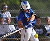 Julianna Sanzone #20 of East Meadow connects for a double during Game 2 of the best-of-three Nassau County varsity softball Class AA final against Long Beach at Mitchel Athletic Complex on Wednesday, May 24, 2017.